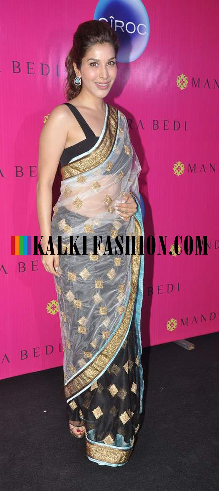 http://www.kalkifashion.com/ Sophie Chaudhary in half and half black and blue saree at Mandira Bedi's new saree store launch.