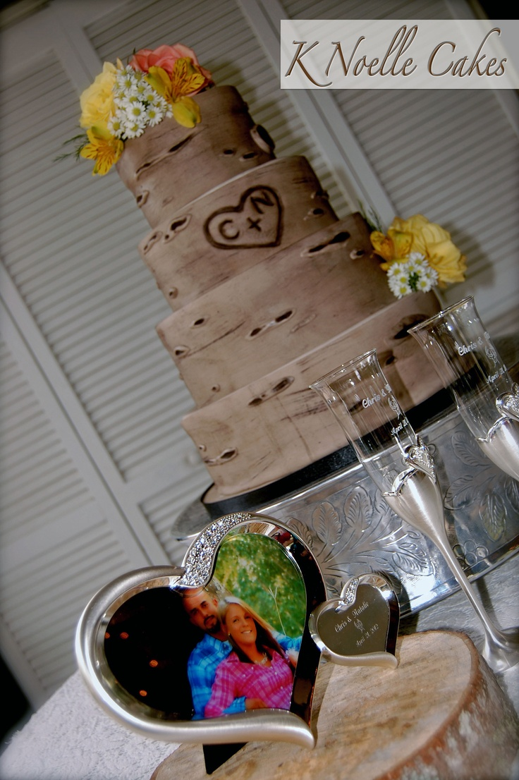 Tree themed Wedding cake by K Noelle Cakes