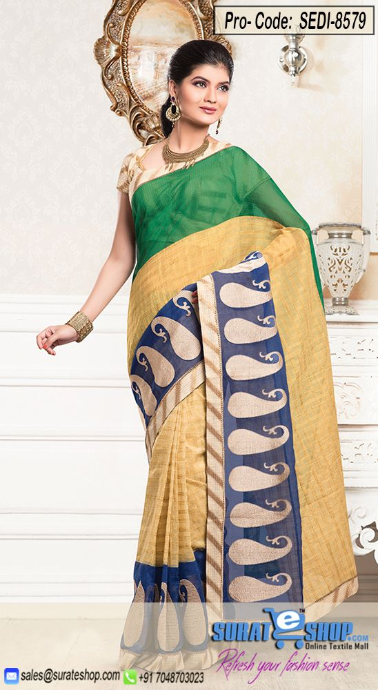 Make The Heads Turn The Moment You Costume Up With This Charming Cream & Green Chanderi Cotton Silk Saree. The Desirable Checkered Decorative Printed, Lace, Self Work A Significant Attribute Of This Attire. Paired With A Contrast Buttercream Chanderi Cotton Silk Blouse  Visit: http://surateshop.com/product-details.php?cid=2_26_66&pid=12264&mid=0