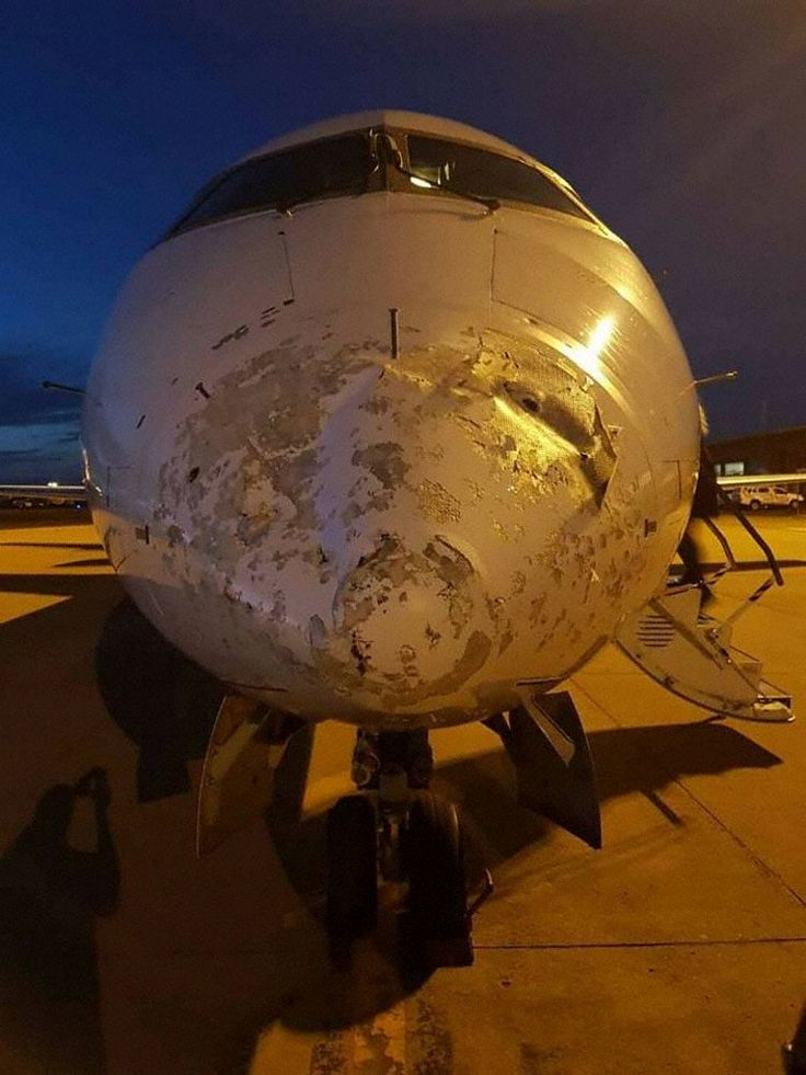 PHOTO South African Express Airways Flight 1113 is damaged by hail while descending towards Kimberley, South Africa. (11-NOV-2016).
