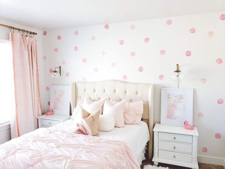 Watercolor Polka Dots Girl Bedroom Walls Girl Room Toddler Girl Room