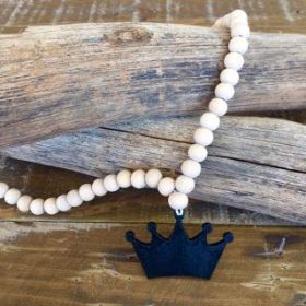 Crown Necklace | Black/Natural #oliverthomas #zavthebrave #crown #girlsnecklace #boysnecklace #necklace #kidswear #kidsnecklace