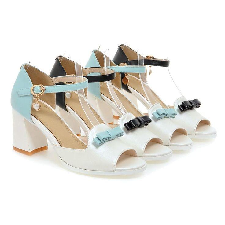 Bow Sandals Ankle Straps Women Pumps Platform High-heeled Shoes Woman