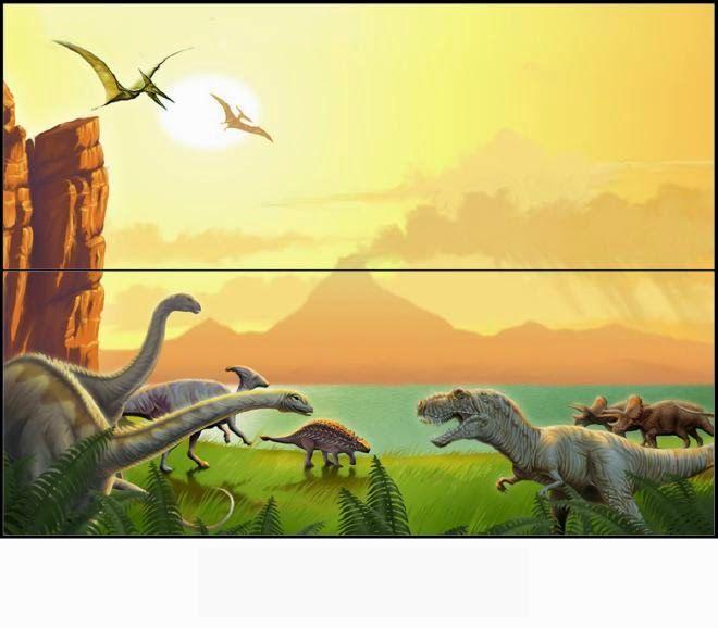 Dinosaurios: Etiquetas para Bolsas de Golosinas para Imprimir Gratis.