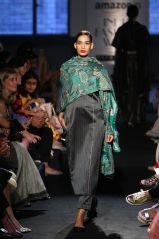 Dupatta - Sanjay Garg - Grey and emerald green dupatta with peacock motifs on grey striped long kurta - Amazon India Fashion Week Spring-Summer 2016