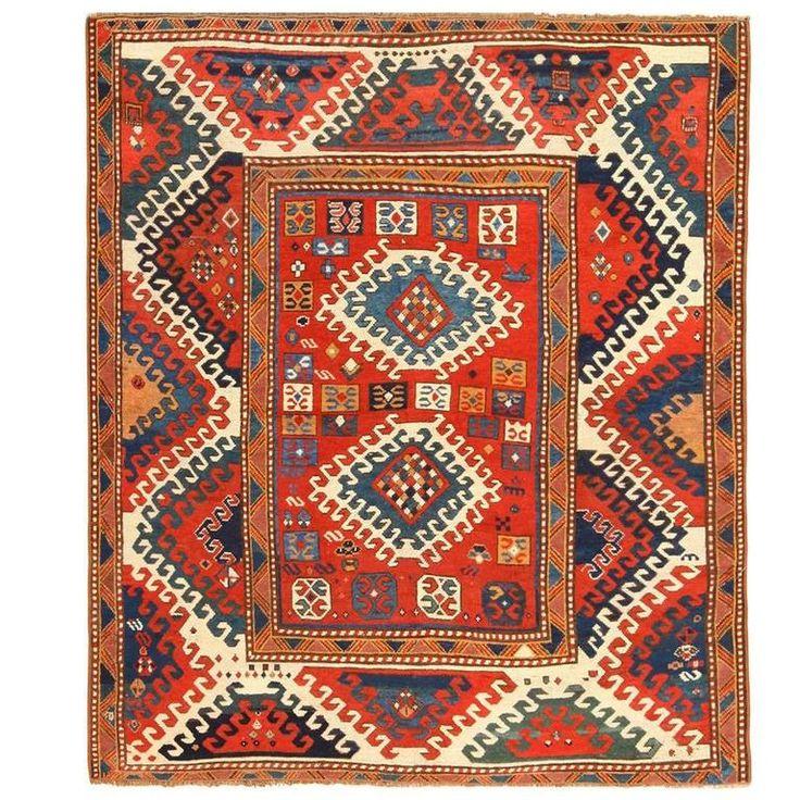 1stdibs wool antique borchalou kazak caucasus caucasian rug for Tappeti kilim ikea