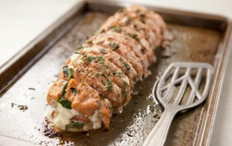 Roasted Salmon stuffed with Spinach, Feta and Ricotta // Who says you have to cook a turkey? #holiday #seafood #recipe