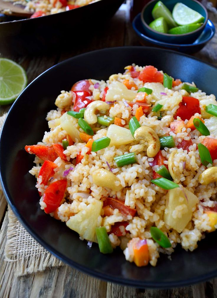 This Thai-style vegan fried rice recipe is refreshing and colorful. A great way to use up leftover rice and it's ready in just 15 minutes.