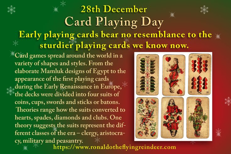 #today 28th December is #CardPlayingDay #ChocolateCandyDay #HolyInnocentsDay  A standard pack of cards may be used for playing a variety of card games, with varying elements of skill and chance, some of which are played for money. Some of the top card games include Spades, Poker, Solitaire, Spite and Malice, Hearts, Spoons, Gin Rummy, Ridge, Black Jack and Texas Hold'em.  Which is your favourite?  #CardPlaying #PlayingCards #packofcards  #Deckofcards #Poker