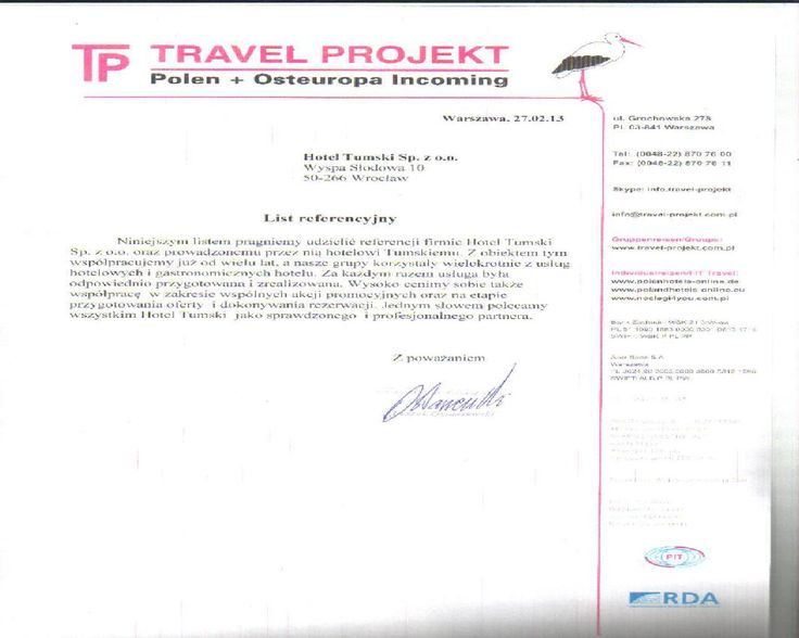Recommendations of Travel Projekt company