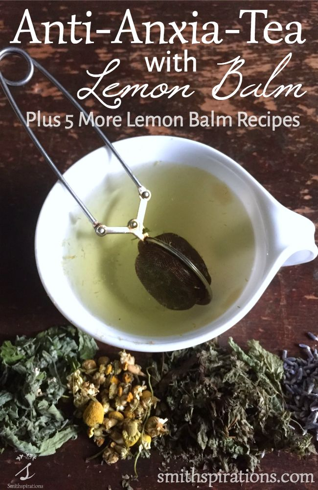 """""""A delicious blend of soothing herbs, this tea with lemon balm is the perfect way to end a stressful, hectic day. It gently relaxes, improves sleep, and eases digestion. Five more lemon balm recipes are included for more ideas!"""""""