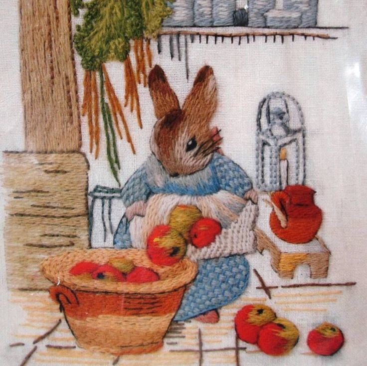 Beatrix Potter Crewel Embroidery Kit Home Cooking Linen Wool Peter Rabbit 1977