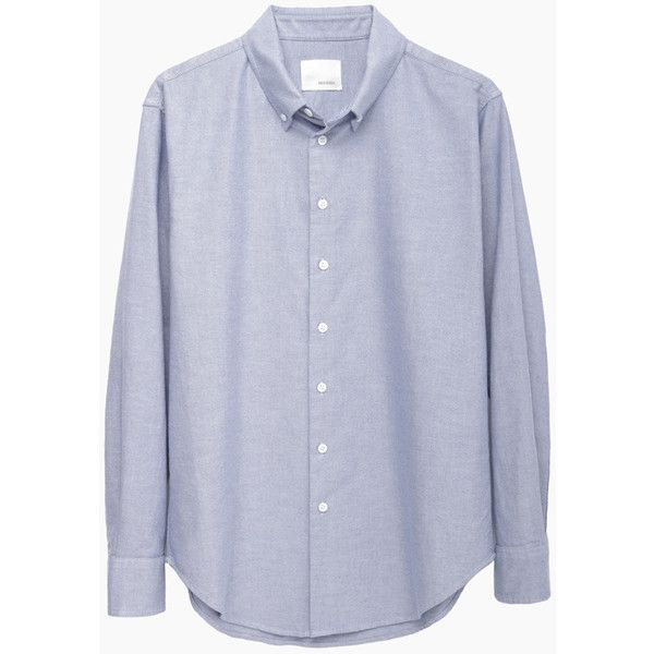Band of Outsiders Oxford Boyfriend Shirt (235 CAD) ❤ liked on Polyvore featuring tops, shirts, chemise, long sleeve cotton shirts, oversized boyfriend shirt, long-sleeve shirt, light blue long sleeve shirt and long sleeve cotton tops