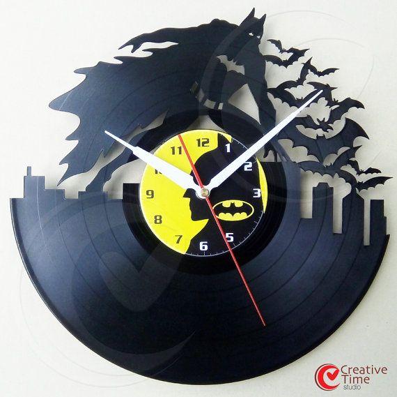 Relógio Batman feito de disco de vinil