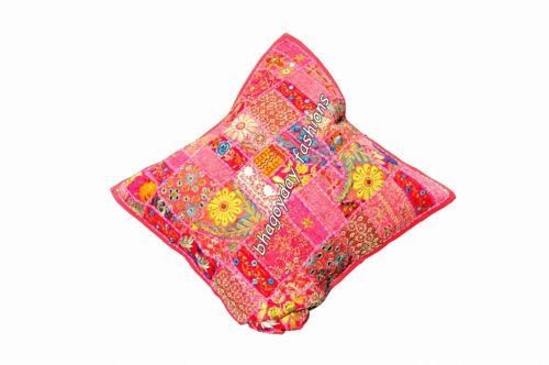 """India Vintage Handmade Patchwork Embroidery Cotton Pillow Cover Square Decor 24"""""""