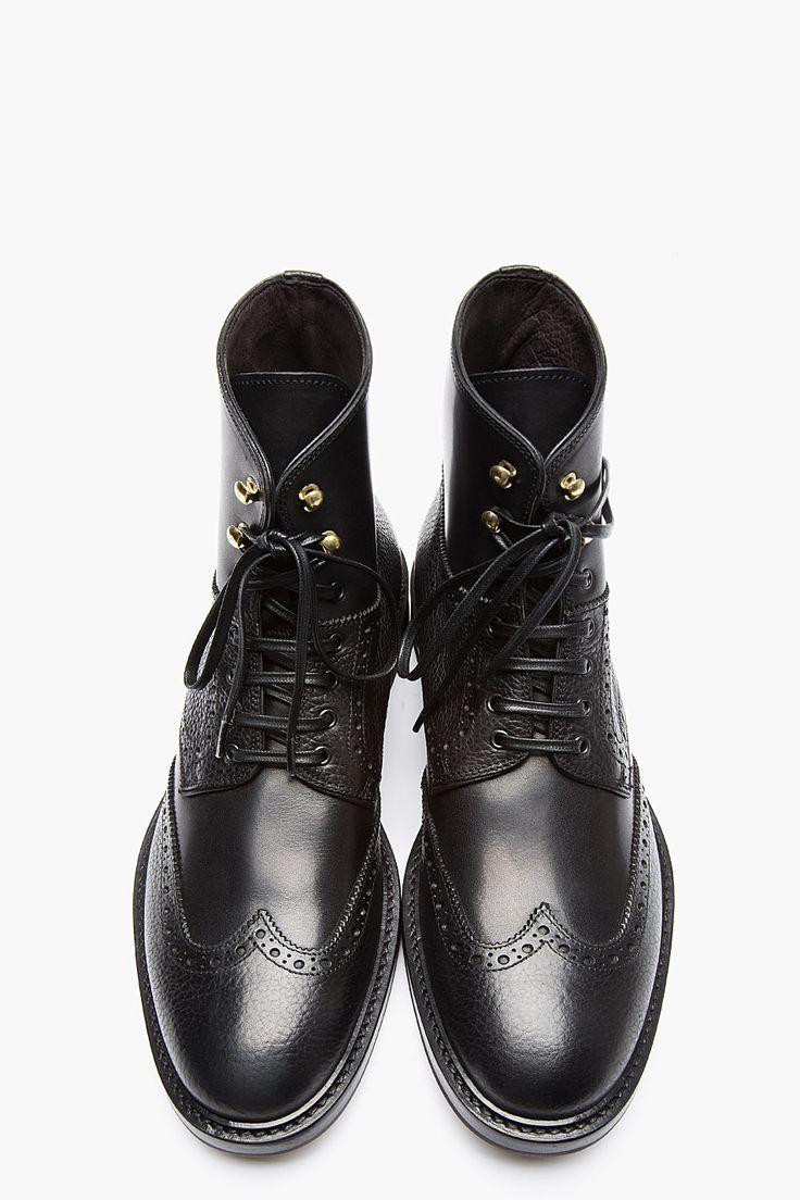 ALEXANDER MCQUEEN Black Leather Wingtip Brogue Boots