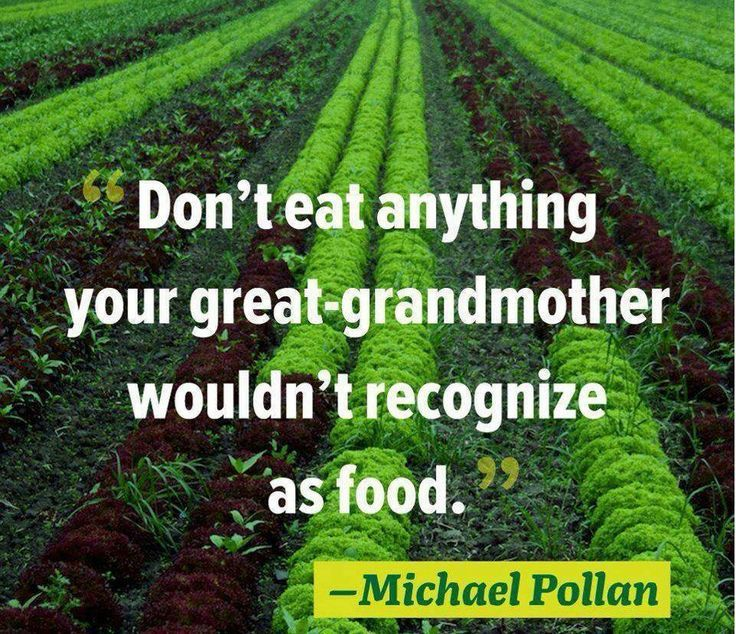 """""""Don't eat anything your great-grandmother wouldn't recognize as food."""" - Michael Pollan"""