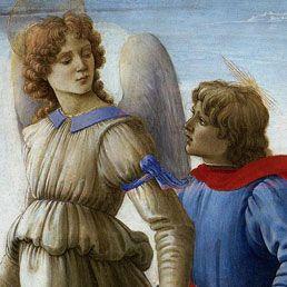 """Filippino Lippi, l'Arcangelo Raffaele: dettaglio da """"I Tre Arcangeli e Tobiolo"""",1485 circa, Galleria Sabauda, Torino"""