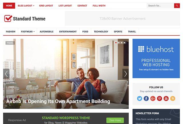 Download Standard WordPress Theme from happythemes