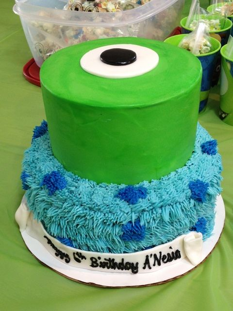 Cake at a Monsters Inc Party #monstersinc #partycake See more more party ideas at CatchMyParty.com.