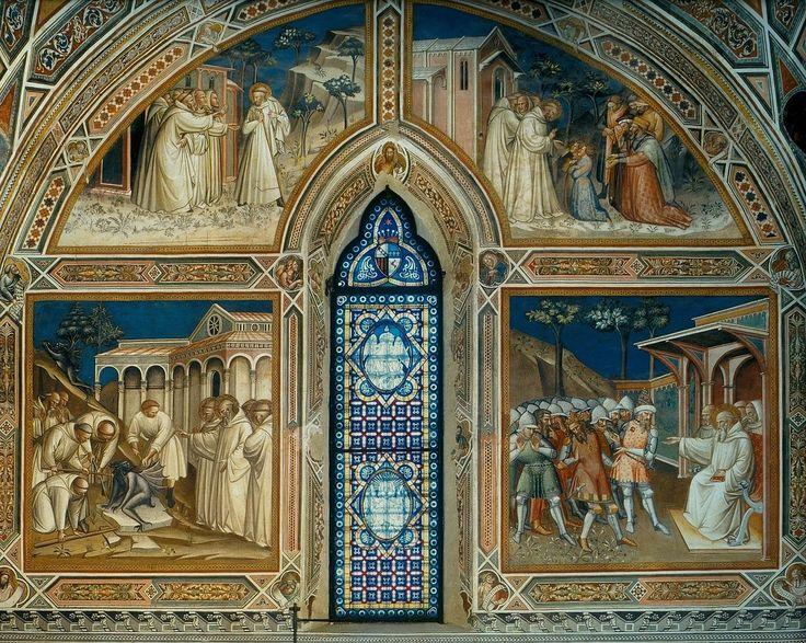 Спинелло Аретино. 1. Бенедикт покидает монастырь в Виковаро. 2.Бенедикт берёт в ученики Мавра и Плацидия. 3.Чудо с камнем. 4.Бенедикт уличает во лжи Ригго. Сан-Миниато-аль-Монте.