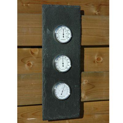 Modern weerstation (buitenthermometer) met op achterzijde een metalen ophangoogje.