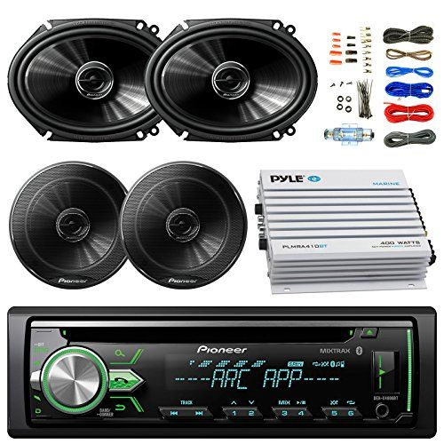 Pioneer DEHX4900BT Car Bluetooth Radio USB AUX CD Player Receiver  Bundle Combo With 2x 250W 6x8 inch 2Way Coaxial Car Audio Speakers  2x 65Inch Speakers  4Channel Amplifier  Amp Kit *** Want to know more, click on the image.