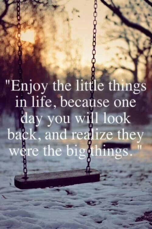"""""""Enjoy the little things in life, because one day you will look back and realize they were the big things."""""""
