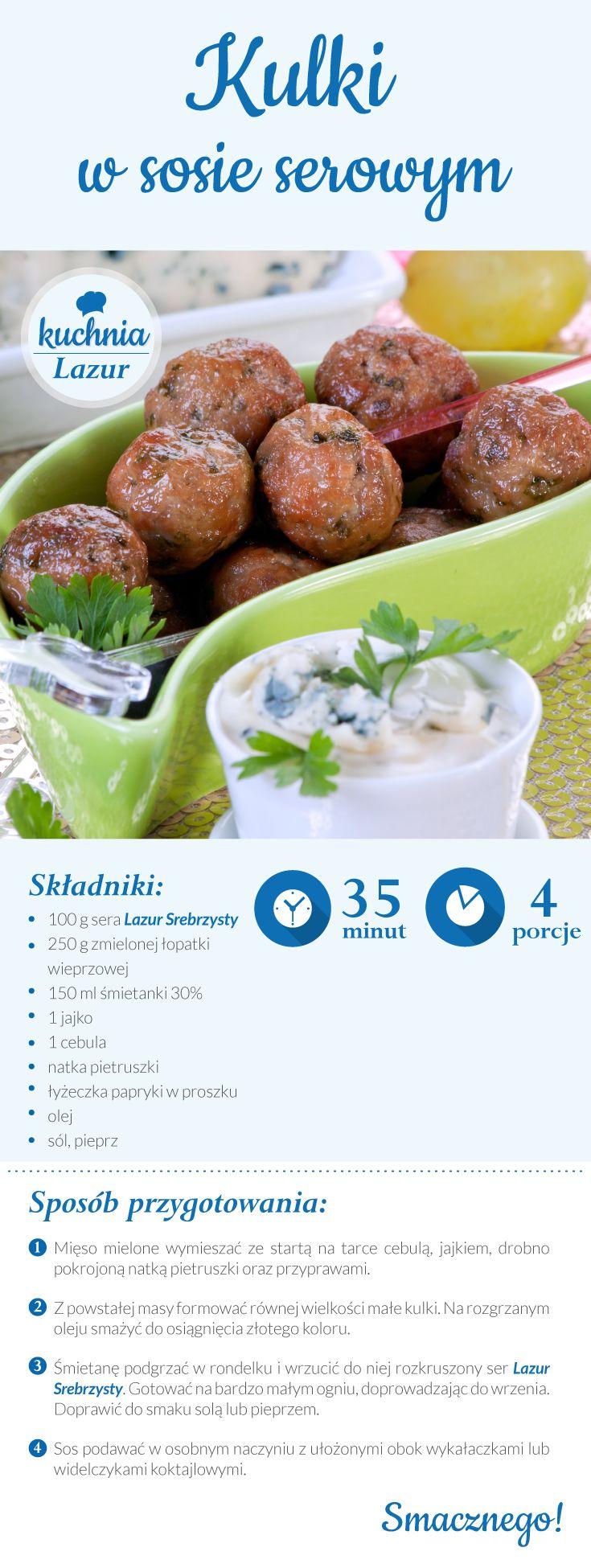 Kulki w sosie serowym /sos serowy/ser /Lazur /ser pleśniowy /rokpol /przepisy /kuchnia lazur