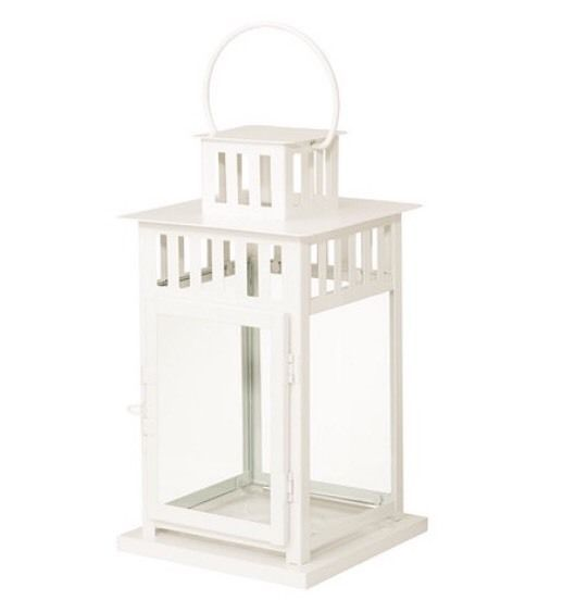 Ikea Borrby Lantern For Block Candle, In/Outdoor White, 28cm Tall BNWT