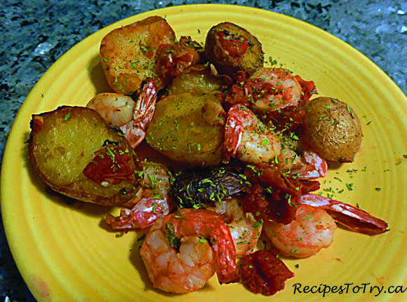 Baby Potatoes with Garlic, Tomatoes and Prawns: ActiFry:  Great as a main dish or as a side dish. Quick and easy as well as tasty
