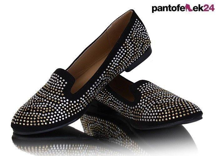 Czarne lordsy z ćwiekami / Black loafers with studs / 19,50 PLN #loafers #black #studs #spring #summer