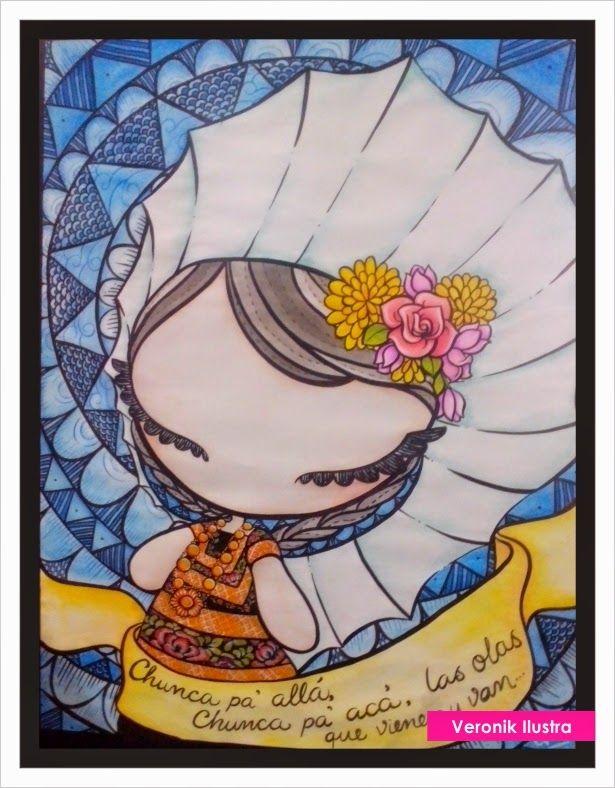 Veronik Ilustra a little mexican tehuana doll