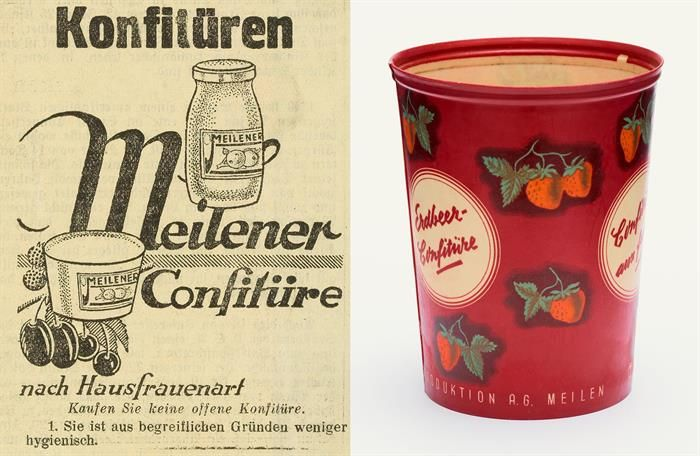 Inserat Die Brücke und «Pergament-Gobelet» (1930). Konfitüre ist 1928 das zweite selbstproduzierte Produkt der Migros.