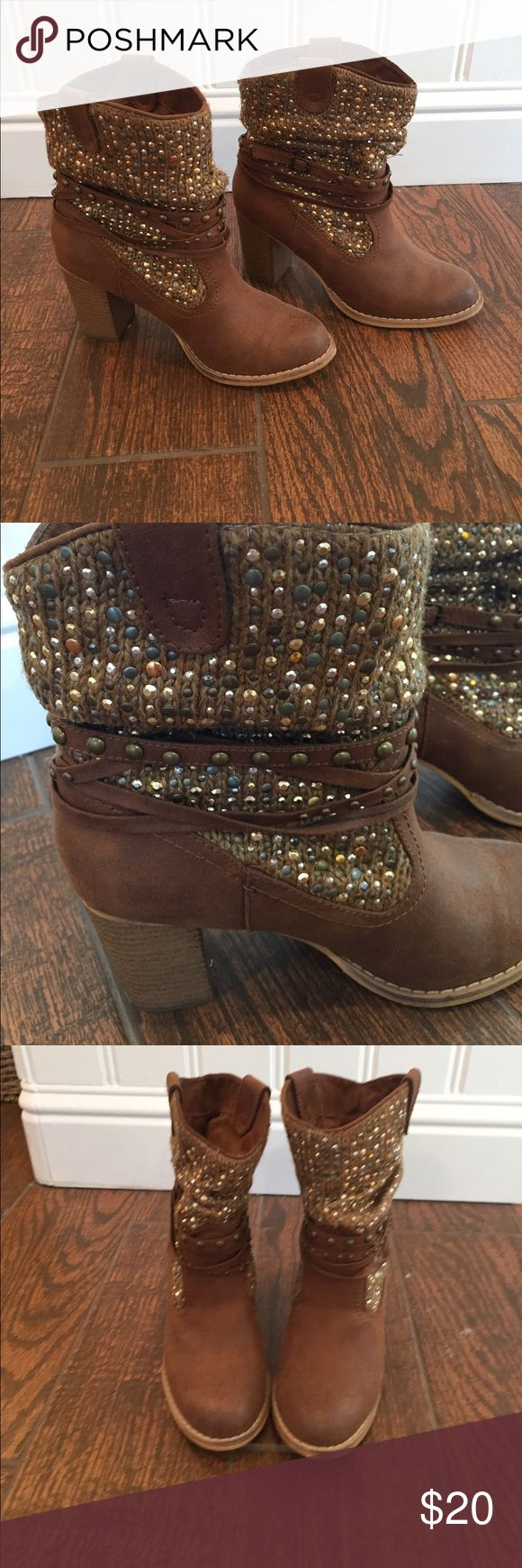 """Brown Rhinestone Cowboy Boots Adorable low cowboy boots. Soft brown suade like material with a fun woven/bedazzled upper      Excellent condition. Only wore a couple of times. Approx 3"""" heel height. Not Rated Shoes Heeled Boots"""