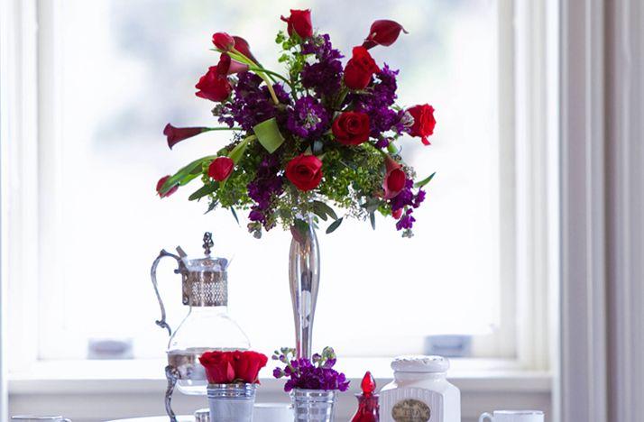 red purple wedding flowers | Purple-red-wedding-flower-centerpieces-silver-vase.original