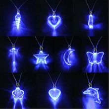Best-Selling LED Blue Magnetic Light Charm Pendant Necklace Xmas Birthday Dancing Party For Men Women 6C53(China (Mainland))
