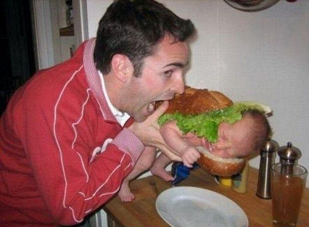 baby sandi! hilarious to see this pic has so much traction and to know this 'baby' isn't a baby any longer.Baby Food, Funny Pics, Baby Pics, Bad Parents, Baby Sandwiches, Black White, Burgers, Fathers Day, Funny Photos