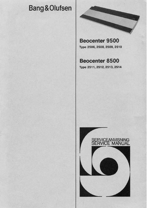 Bang & Olufsen Beocenter-9500 Service Manual (type 2506 , 2508 , 2509 , 2510) and 8500 DOWNLOAD