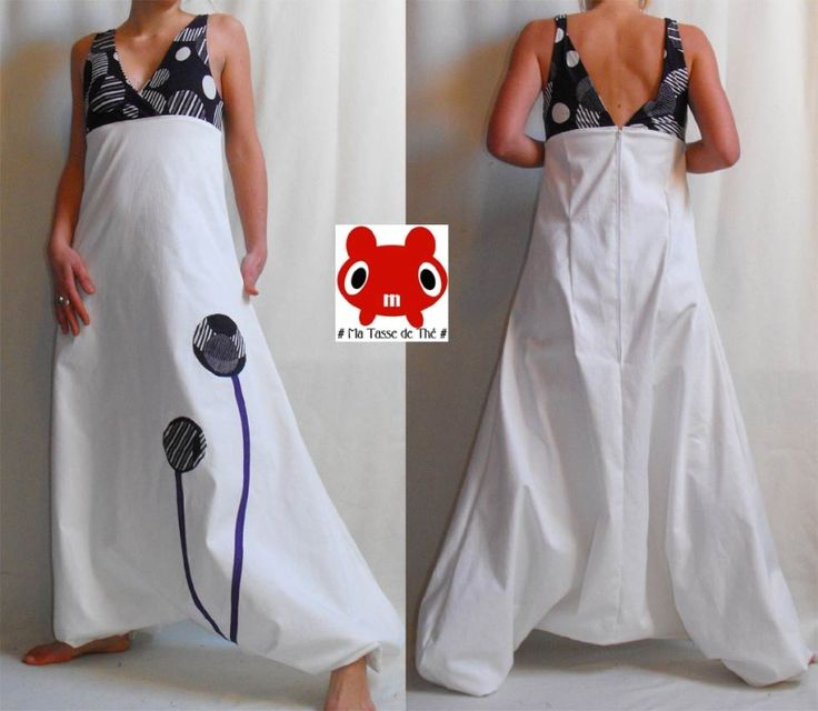 robe sarouel . motif noir sur blanc joli