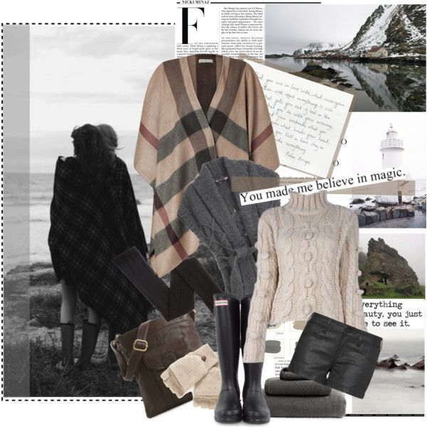 Untitled #955 by marybloom on Polyvore featuring polyvore, fashion, style, Burberry, Calypso St. Barth, MANGO, Armani Exchange, Hunter, Latico, Jack Spade, Dondup, Nicki Minaj, Sinclair, cable knit sweaters and capes