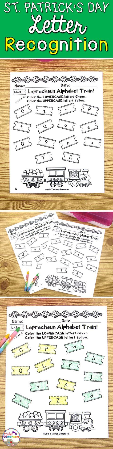 Students look at the train tickets and color the ticket. Students color lowercase letters green and uppercase letters yellow. Great for morning work or St. Patrick's Day activity. Common Core aligned.