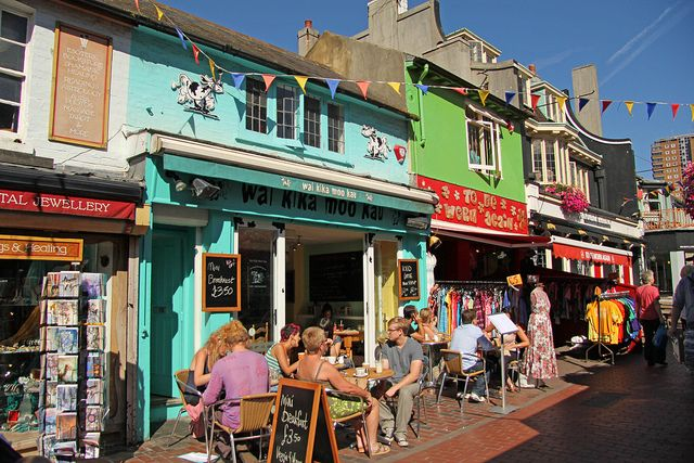 North Laine in Brighton. The cafe featured is the fab Wai Kika Moo Kau, which is vegetarian/vegan.