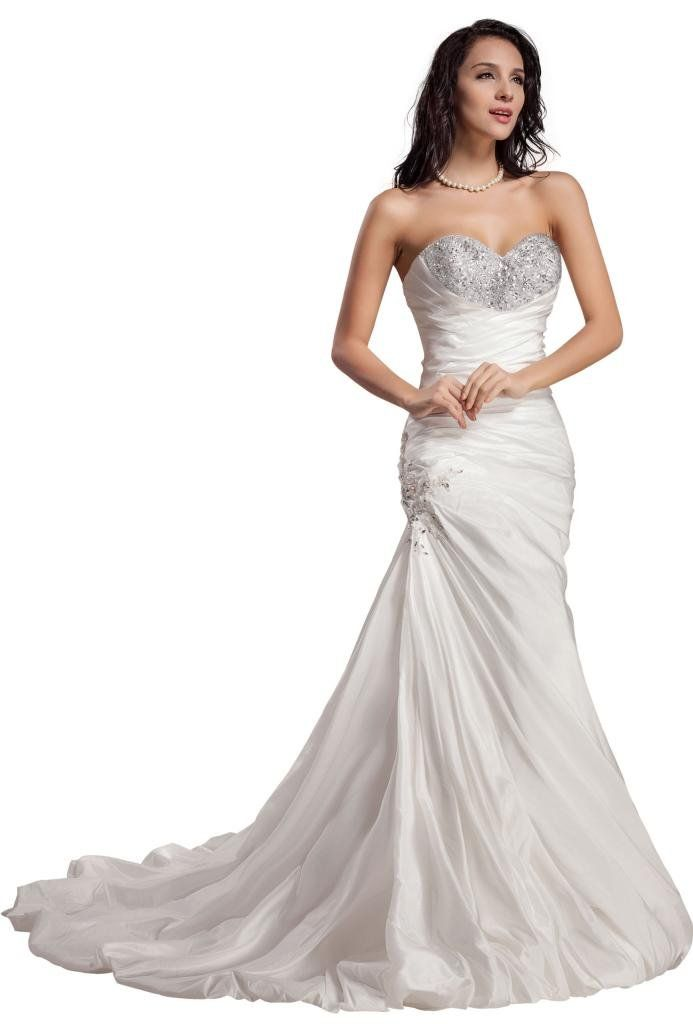Tidetell 2014 Sweetheart Mermaid Court Train Ruffle Bridal Wedding Dress  White Size 12    For More Information, Visit Image Link.