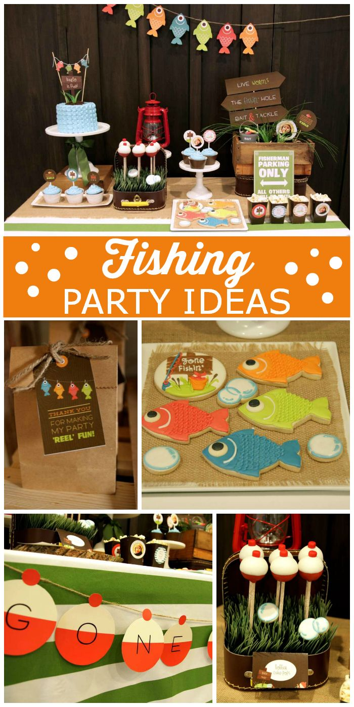 An awesome Fishing themed boy birthday party with cake pops, cupcakes and excellent party decorations!  See more party ideas at CatchMyParty.com!