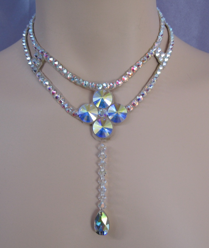 Ballroom necklace Swarovski Crystal Bead Drop    Ballroom Necklace made with Swarovski crystals that drop down the front to a pear
