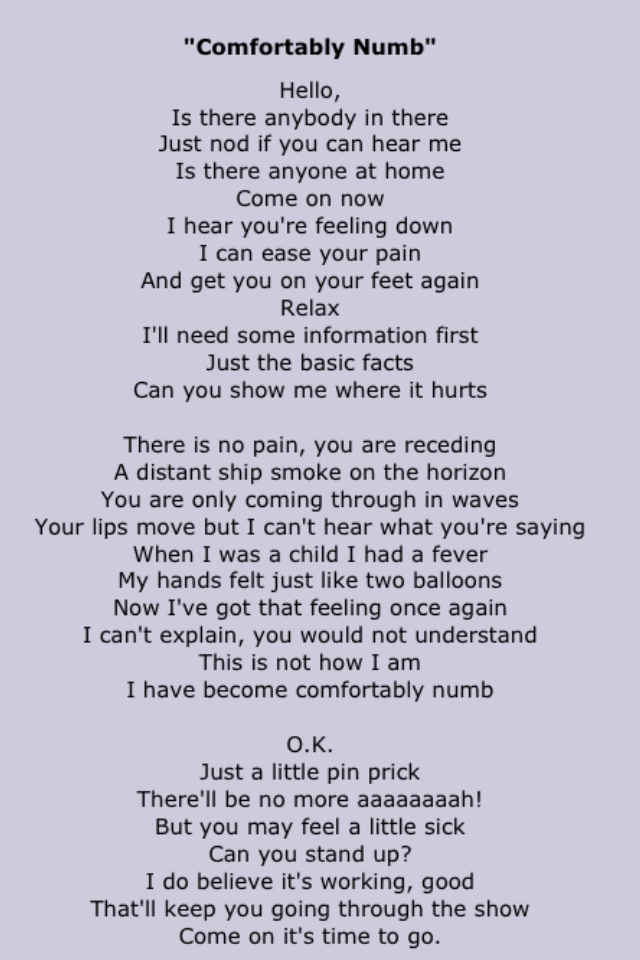 Chords for Pink Floyd - Comfortably Numb (chords & Lyrics)