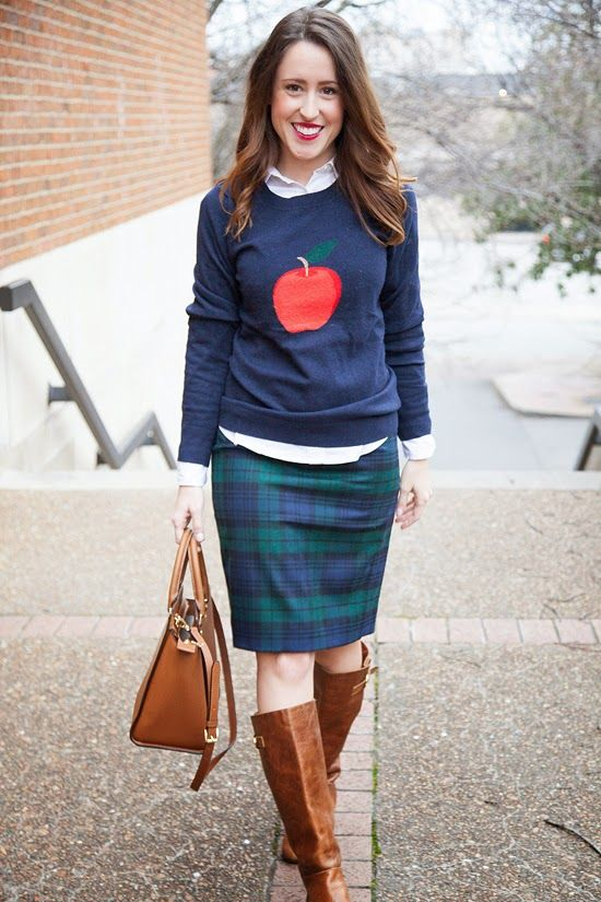 Here & Now: apple for the teacher - sweater and button down, plaid skirt and cognac boots / purse    wear to work outfit, office style
