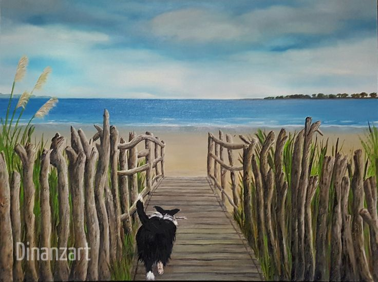 #Tahuna Beach #Nelson with #Poppy. #art #artist #oil #driftwood #boardwalk Copyright Diane Clayton # Dinanzart