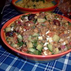 Greek Lentil Salad Allrecipes.com Made this with Adam and he loved it! Always a plus when you can get a man to enjoy something so healthy :-) Add so olives and cut down the dress, you don't need that much. YuM!